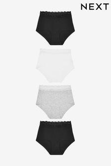 Monochrome Lace Trim Cotton Blend Knickers 4 Pack