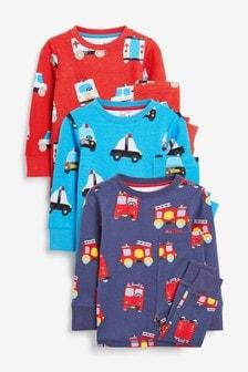 Multi Emergency Vehicles 3 Pack Snuggle Pyjamas (9mths-12yrs)