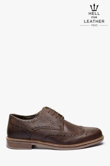 Brown Waxy Finish Leather Brogue Shoes