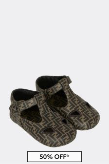 Fendi Kids Baby Brown Leather Shoes