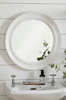White Wooden Wall Mirror