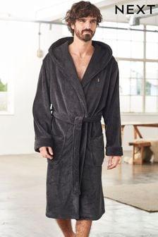 Slate Super Soft Hooded Dressing Gown