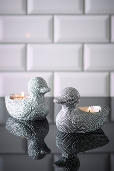 Silver Set of 2 Sparkly Duck Tealight Holders
