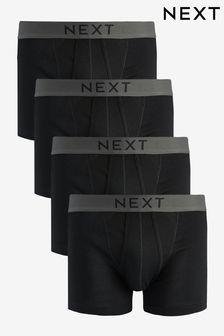 Black A-Fronts Pure Cotton Four Pack