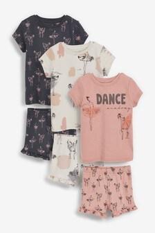 Pink/Grey 3 Pack Ballerina Short Pyjamas With Appliqué (9mths-12yrs)