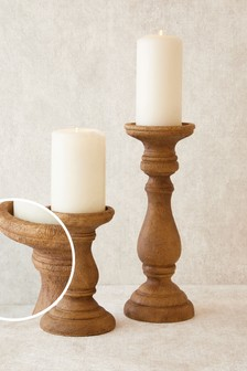 Natural Turned Candlesticks