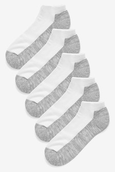 White/Grey Cushioned Trainer Socks Five Pack