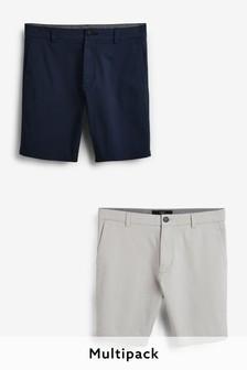 Navy/Light Grey 2 Pack Stretch Chino Shorts