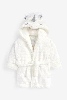 White 3D Unicorn Fleece Dressing Gown (9mths-16yrs)