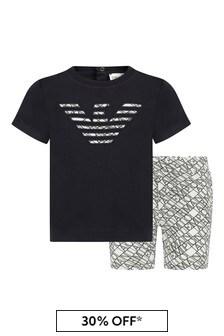 엠포리오 Armani 베이비 화이트 티셔츠와 쇼츠 세트