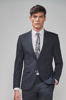 Navy Wool Blend Stretch Suit: Jacket