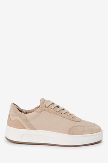 Cappuccino Signature Leather Back Detail Trainers