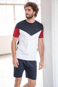 Navy/White Chevron Short Pyjama Set