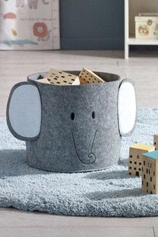 Grey Elephant Felt Storage Basket