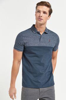 Navy Marl Colourblock Polo Shirt