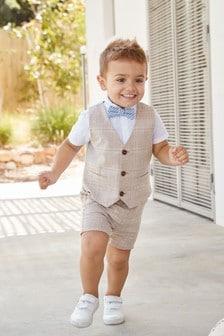 3pc Formal Baby Teens Boys Yellow Necktie Khaki Pants Sets Suits S-14 5