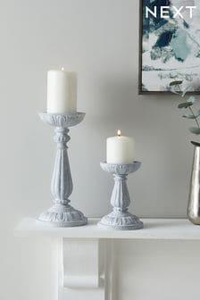 Grey Pretty Vintage Pillar Candle Holder