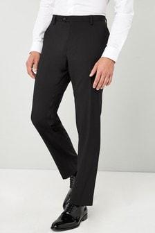 Black Tailored Fit Tuxedo Suit: Trousers
