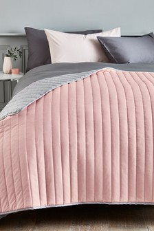 Pink Reversible Cotton Rich Bedspread