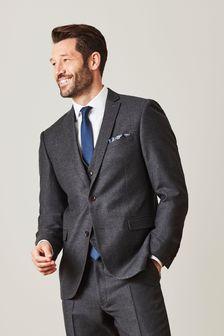 Grey Signature Empire Mills Fabric Flannel Suit: Jacket