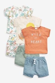 Teal 6 Pack Organic Cotton T-Shirts And Shorts Set (0mths-2yrs)