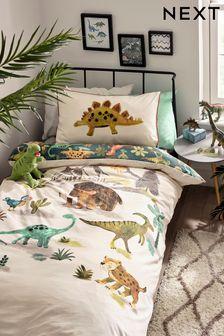 Natural Prehistoric Dinosaurs & Friends Reversible Duvet Cover and Pillowcase Set
