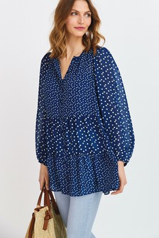 Navy Longline Tiered Blouse