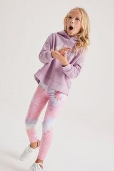 Lilac Tie Dye Hoodie And Leggings Sports Set (3-16yrs)