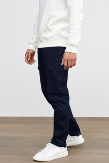 Navy Cotton Stretch Cargo Trousers