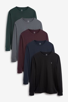 Long Sleeve Crew Neck Regular Fit Stag T-Shirt 5 Pack