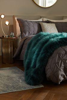 Teal Blue Teal Blue Long Faux Fur Throw