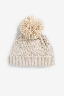 Cream Cable Knitted Hat With Pom (Newborn)
