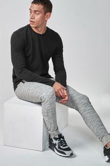 Black Long Sleeve Crew Neck T-Shirt