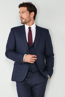 Navy Nova Fides Wool Blend Flannel Slim Fit Suit