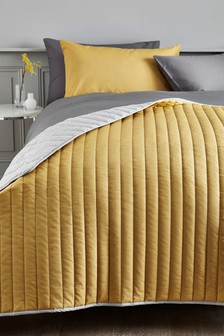 Ochre Reversible Cotton Rich Bedspread
