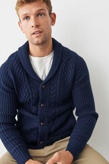 Navy Cable Shawl Collar Cardigan