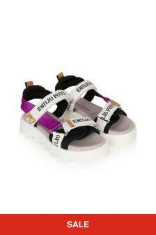 Emilio Pucci Girls White Leather Sandals