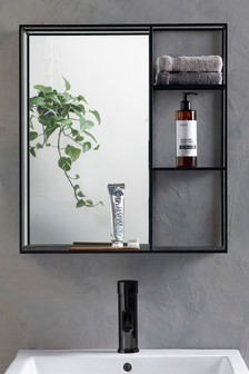 Black Shelving Wall Mirror