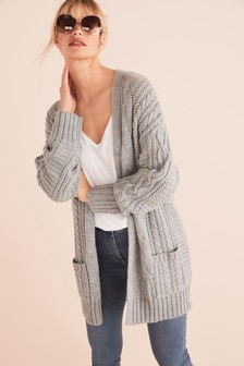 Grey Cable Cardigan