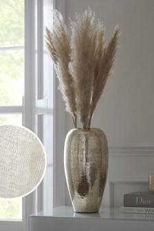 Silver Large Hammered Metal Vase
