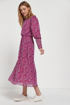 Magenta Tie Neck Printed Dress
