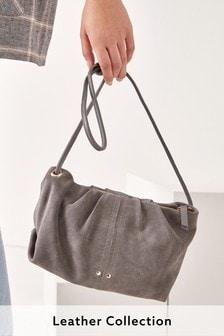 Grey Suede Stitch Detail Across Body Bag