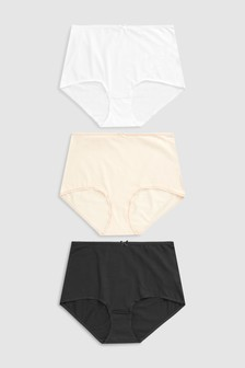 Black/White/Nude Cotton Rich Knickers Seven Pack