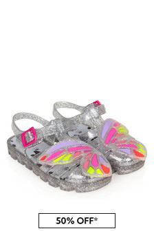 Sophia Webster Girls Silver Butterly Jelly Sandals