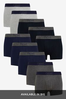 Grey/Navy A-Fronts Pure Cotton Ten Pack