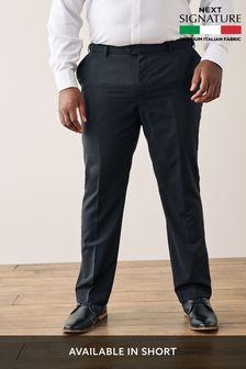 Black Signature Tollegno Fabric Tuxedo Suit: Trousers