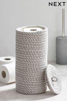 Grey Woven Toilet Roll Holder