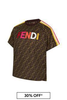 Fendi Kids Brown Cotton T-Shirt
