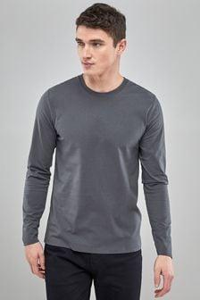 Charcoal Long Sleeve Crew Neck T-Shirt