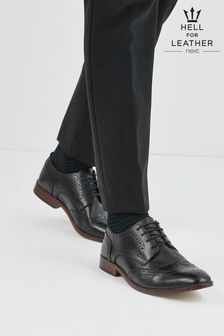 Black Contrast Sole Leather Brogues